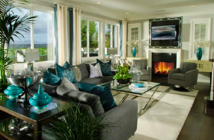 Below Turquoise Accessories And Green Plants Accent The Living Room Within Grey Blue Color Palette Symmetry Of Vases Shutters